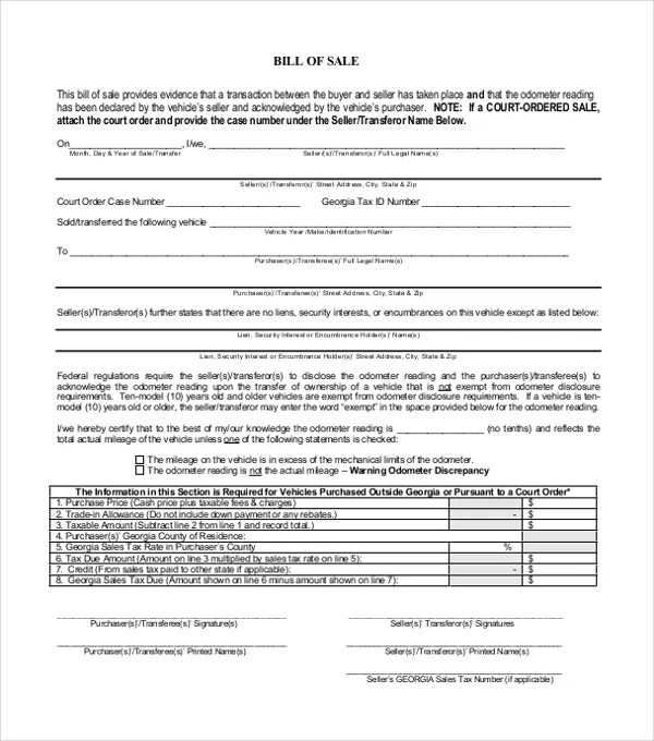 14+ Bill of Sale Templates - Free Sample, Example, Format Free - bill of sale template doc