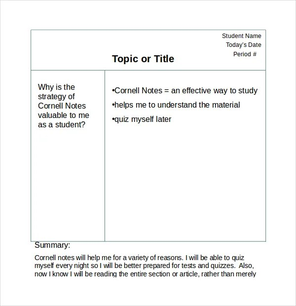 11+ Cornell Note Templates - Free Sample, Example, Format Free - cornell note template