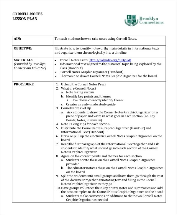 Cornell Note Taking Template  Isometric Dot Paper Free Download - Sample Cornell Note