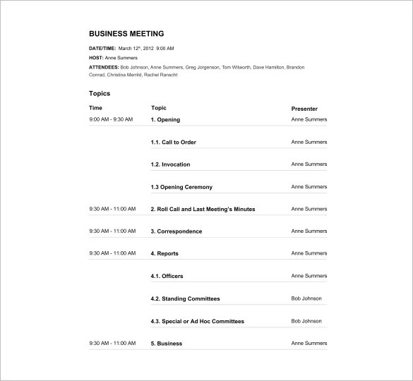 Agenda Template  2013 24+ Free Word, Excel, PDF Documents Download - format for an agenda