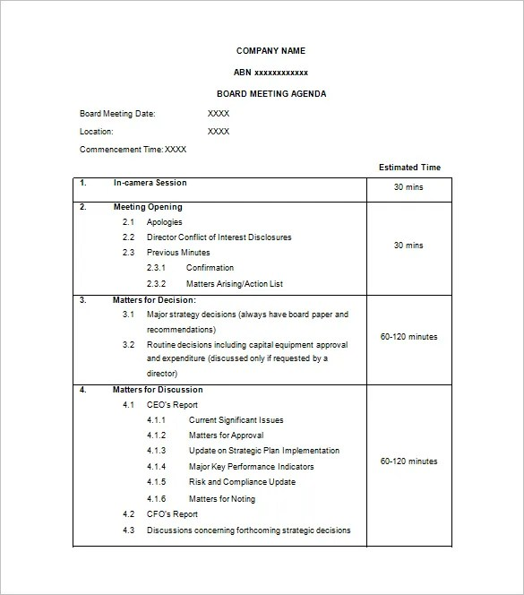 agenda format word - Kordurmoorddiner - Format For An Agenda