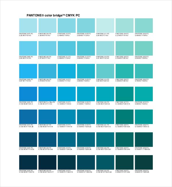 sample pantone color chart template - general color chart template