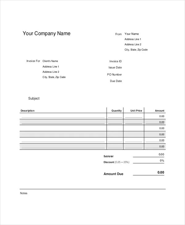 Professional Invoice Template- 8+ Free Word, Excel, PDF Documents