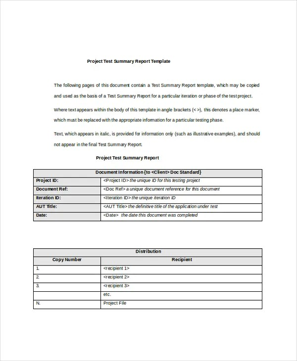 7+ Project Summary Templates - Free Word, PDF Document Download - Project Summary Report Sample