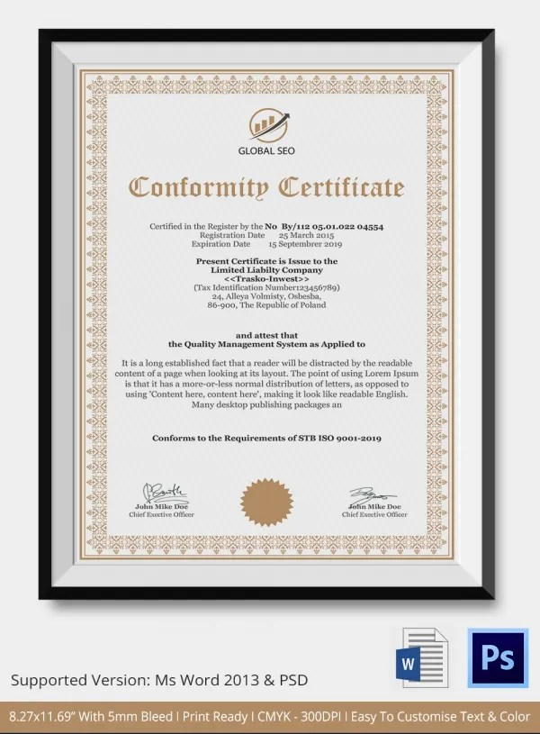 Certificate of Conformance Template - 8+ Word, PSD, AI, InDesign PDF