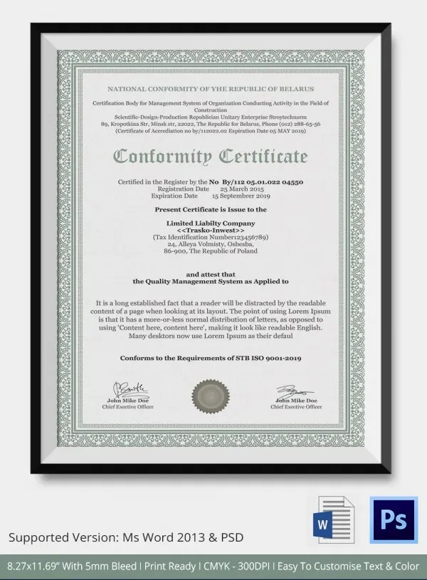 Certificate Of Conformity Template Download | Sample Resume For