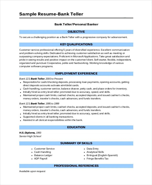 Bank Teller Resume Template - 5+ Free Word, Excel, PDF Documents - resume for bank teller
