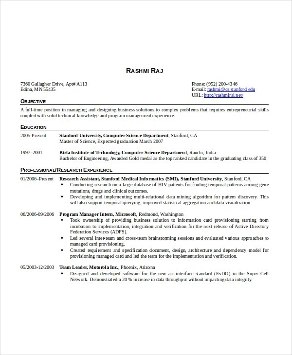 Software Engineer Resume Template - 6+ Free Word, PDF Documents - software engineer resume example