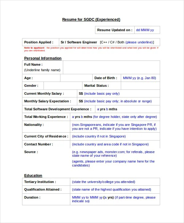 Software Engineer Resume Template - 6+ Free Word, PDF Documents - Resume Format For Experienced Software Engineer