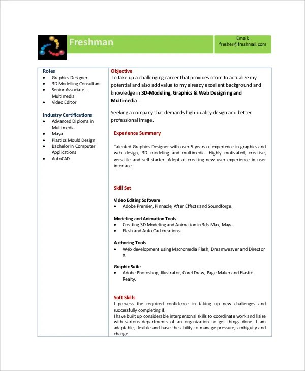 Animator Resume Template - 7+ Free Word, PDF Documents Download - Modeling Career Resume