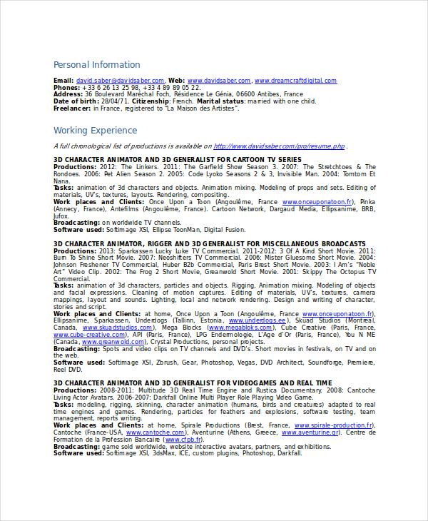 Animator Resume Template - 7+ Free Word, PDF Documents Download - maya animator sample resume