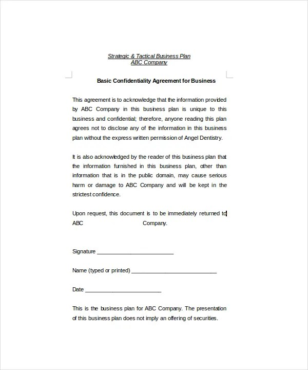 Confidentiality Agreement Non Disclosure Agreement Templates