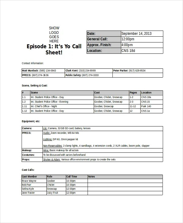 Call Sheet Template Production Schedule Call Sheetprogramme Title - sample call sheet