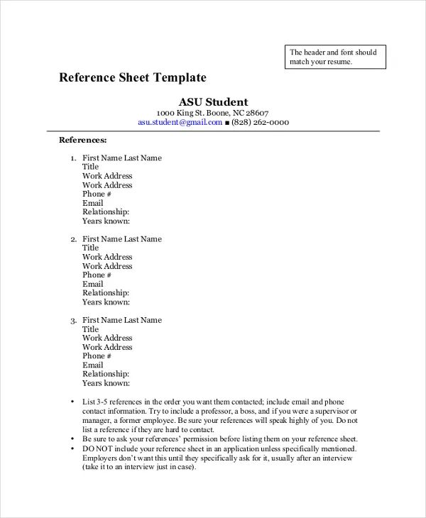 resume reference list templates