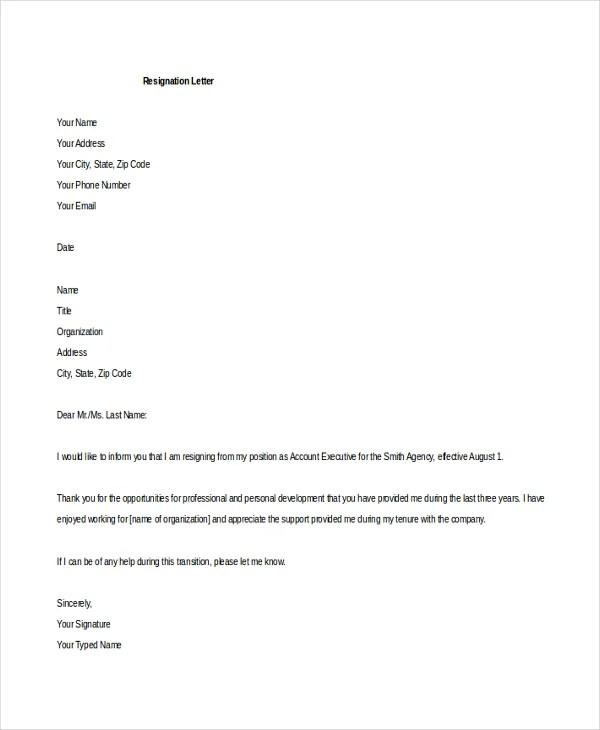 format of resign letter