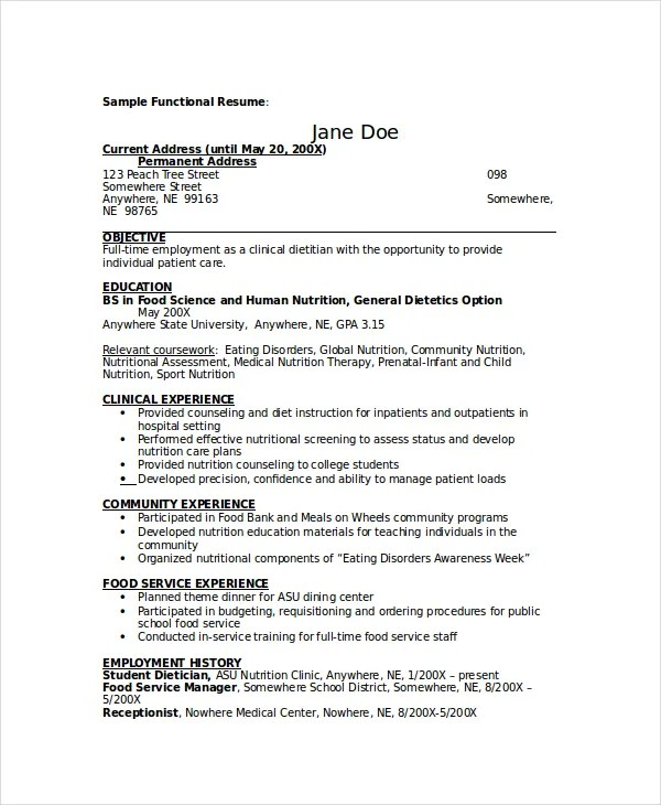 Dietitian Resume Template - 6+ Free Word, PDF Documents Download - dietician sample resumes