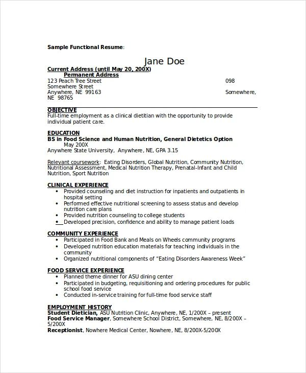 resume samples for dietitians