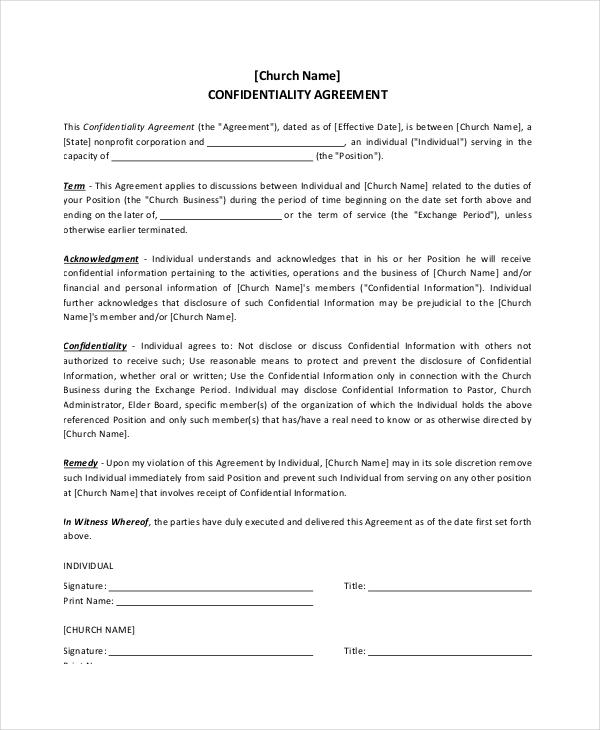 Church Confidentiality Agreement \u2013 9+ Free Word, PDF Documents