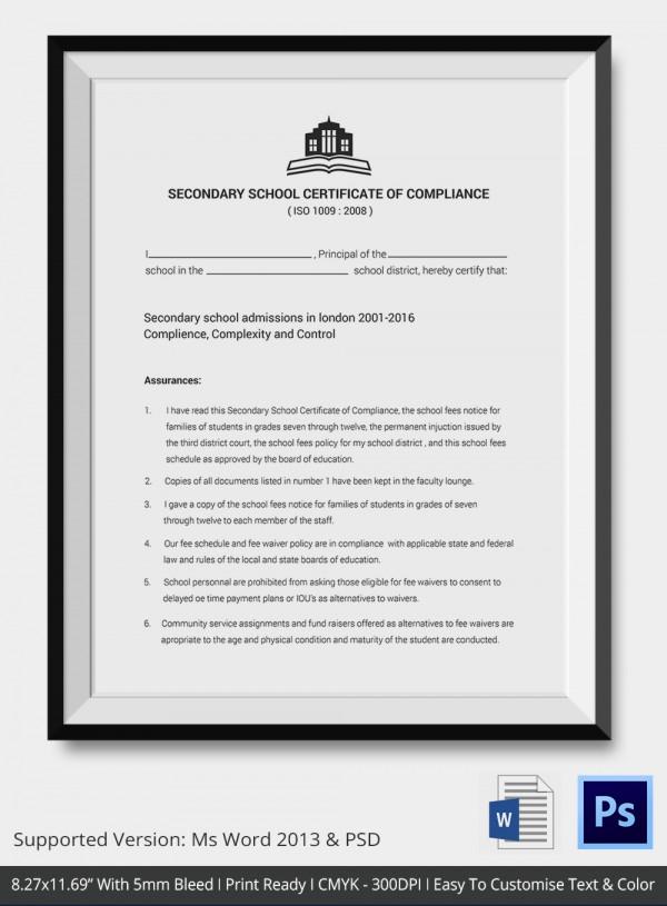Certificate of Compliance Template u2013 9+ Free Word, PDF Documents - certificate of compliance template