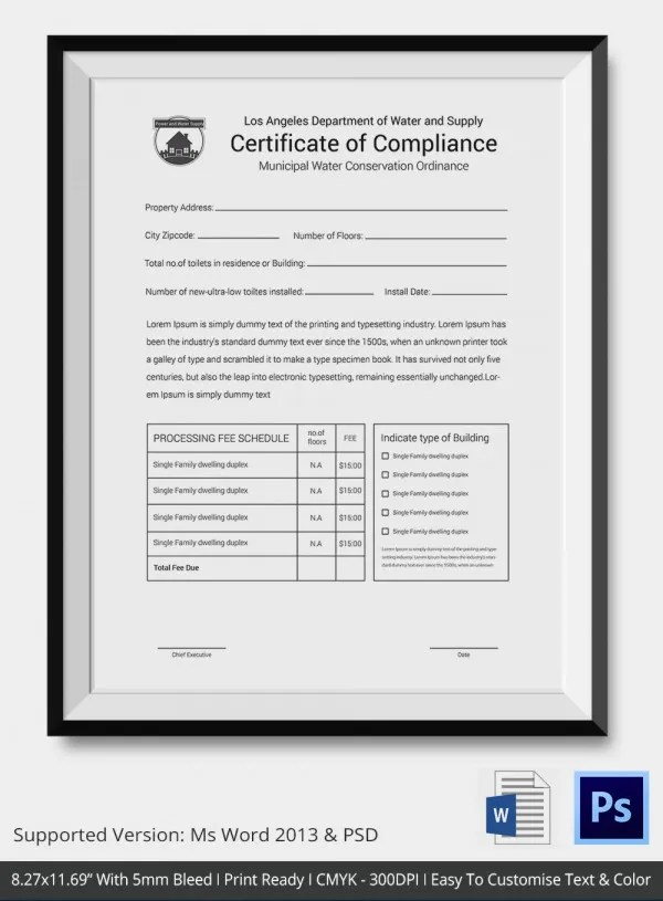 Certificate of Compliance Template \u2013 9+ Free Word, PDF Documents - make a certificate in word