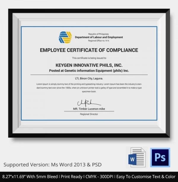 Certificate of Compliance Template \u2013 12+ Word, PDF, PSD, AI