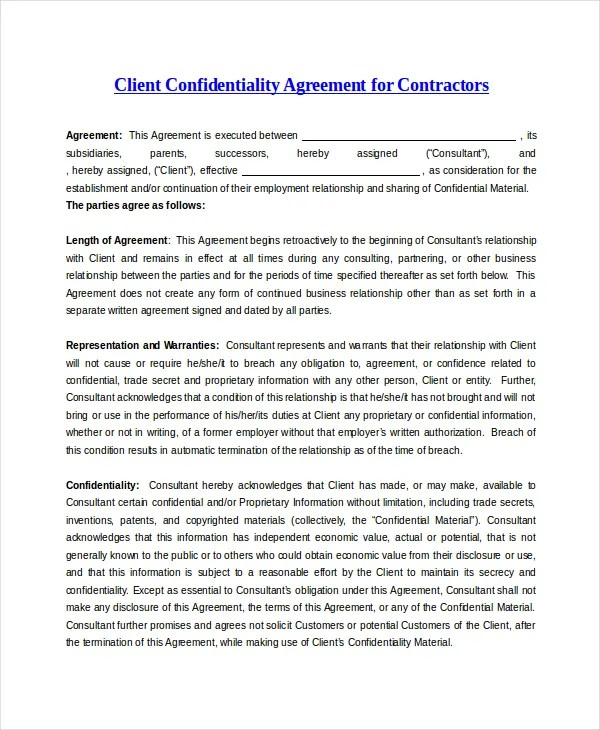 Client Confidentiality Agreement u2013 9+ Free Word, Excel, PDF - contractor confidentiality agreement