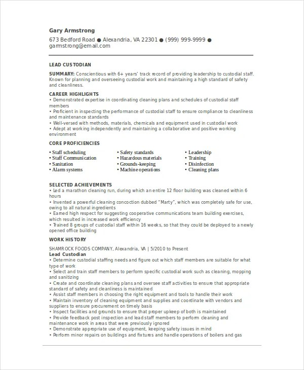 Custodian Resume Template - 6+ Free Word, PDF Documents Download - custodian resume examples