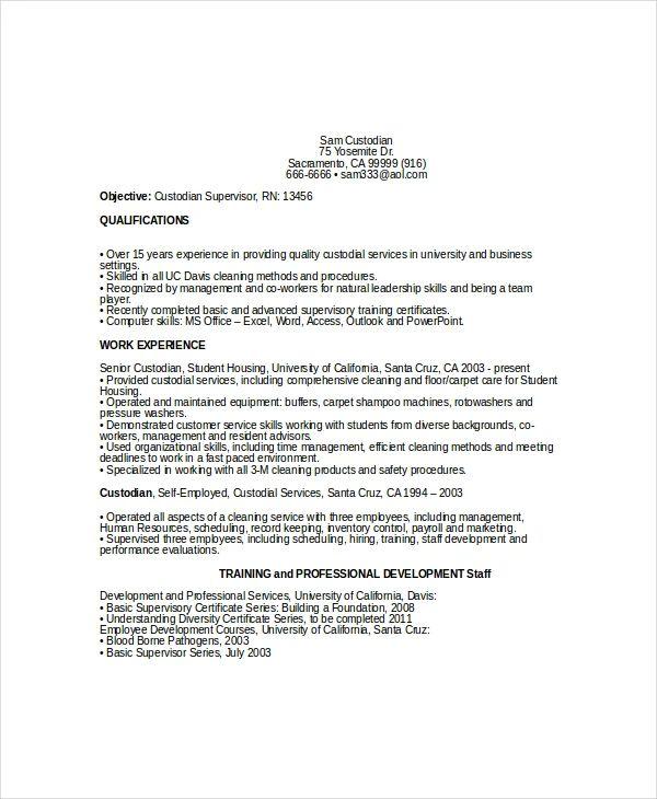 custodian resume template