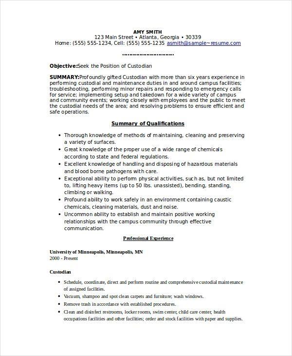 sample resume for custodian position