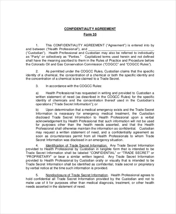 Confidentiality Agreement Form \u2013 8+ Free Word, PDF Documents