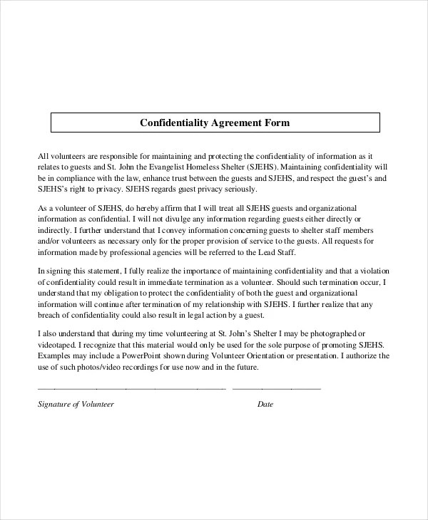 Volunteer Confidentiality Agreement data confidentiality agreement