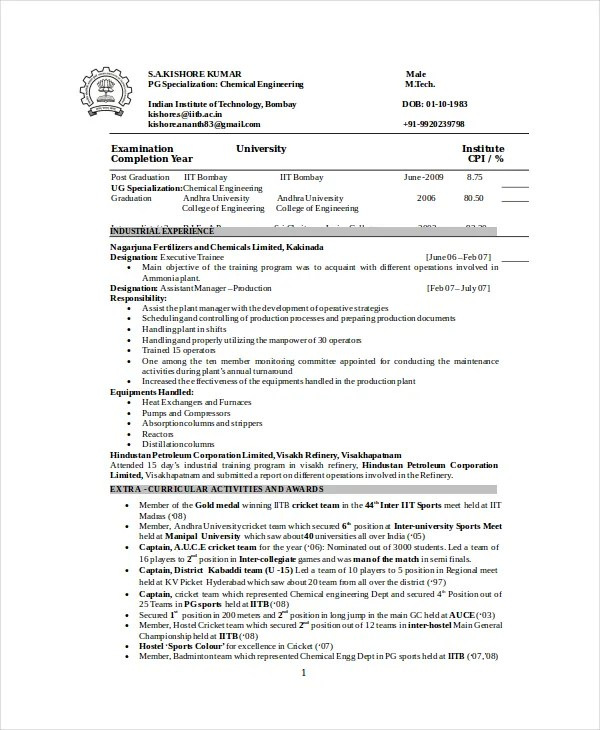 Chemical Engineer Resume Template - 6+ Free Word, PDF Documents