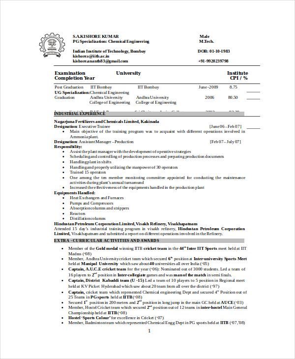 Chemical Engineer Resume Template - 6+ Free Word, PDF Documents - chemical engineer resumes