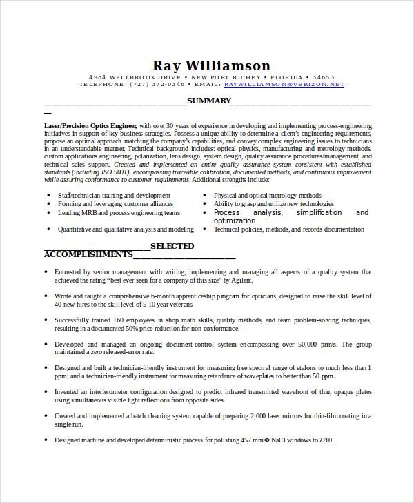 6+ Optician Resume Templates - PDF, DOC Free  Premium Templates - optician resume