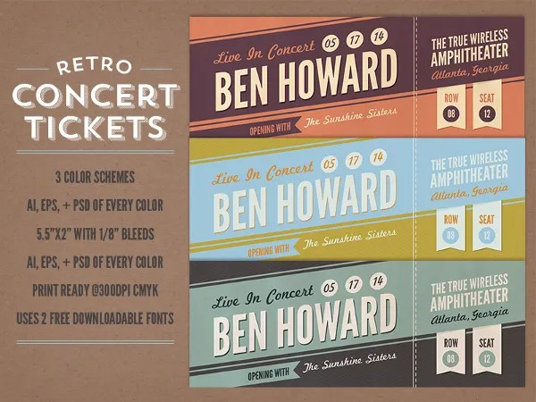 35+ Ticket Templates - Free Sample, Example, Format Free  Premium - concert ticket invitation template