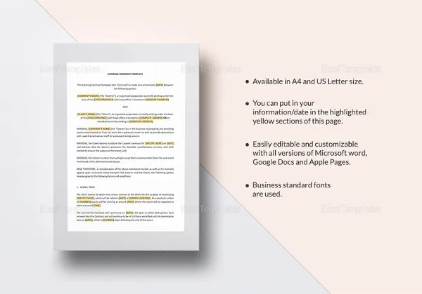 11+ Catering Contract Templates \u2013 Free Word, PDF, Documents Download