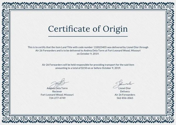 Certificate of Origin Template - 8+ Free Word, PDF Documents - blank certificate of origin