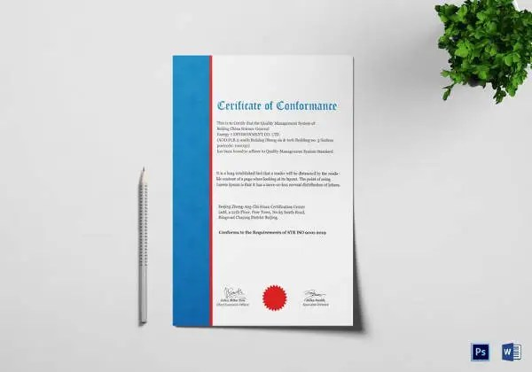 Certificate of Conformance Template - 6+ Free Word, PDF Documents