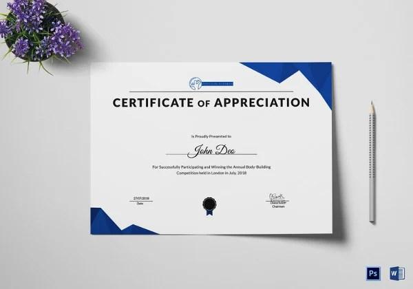 Certificate of Appreciation Template - 25+ Free Word, PDF, PSD