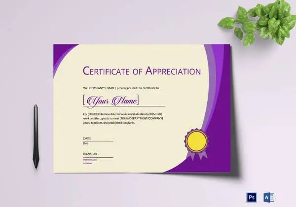 Thank You Certificate Template- 10+ Free PDF, PSD, Vector Format - thank you certificate template