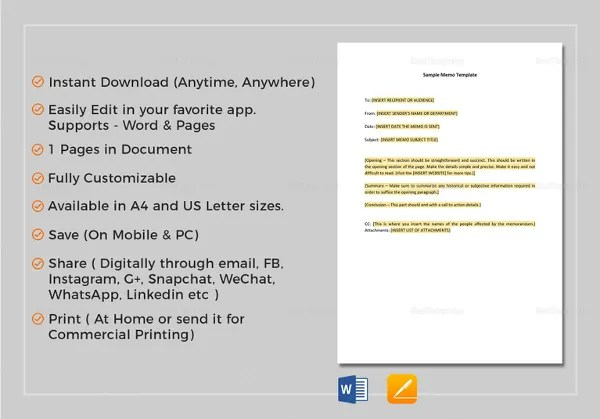 20+ Memo Templates - Free Sample, Example Format Free  Premium - inter office communication letter