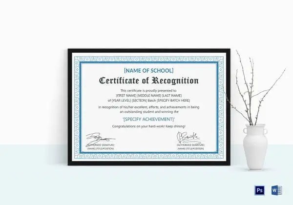 Certificate of Recognition Template - 15+ Free Word, PDF Documents - recognition certificate template