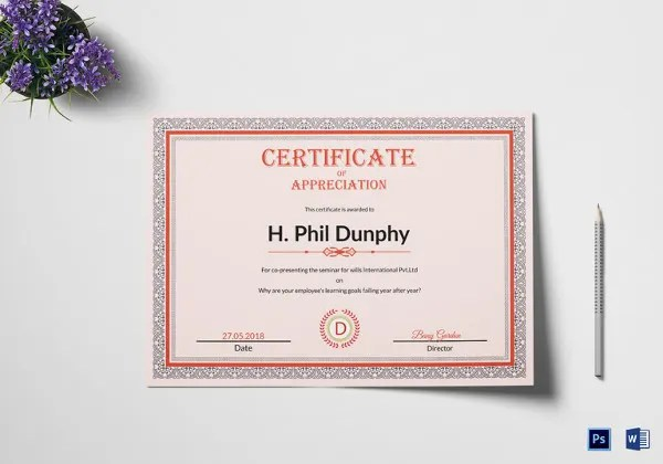 Certificate of Appreciation Template - 24+ Free Word, PDF, PSD - example of certificate of appreciation