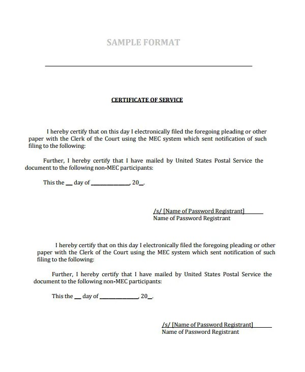 Certificate of Service Template - 7+ Free Word, PDF Documents - sample certificate of service template