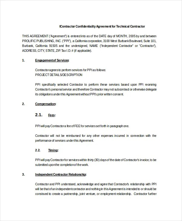 Contractor Confidentiality Agreement u2013 10+ Free Word, PDF - contractor confidentiality agreement