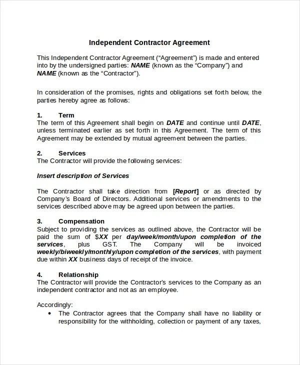 Contractor Confidentiality Agreement u2013 10+ Free Word, PdfSample - independent contractor agreement form