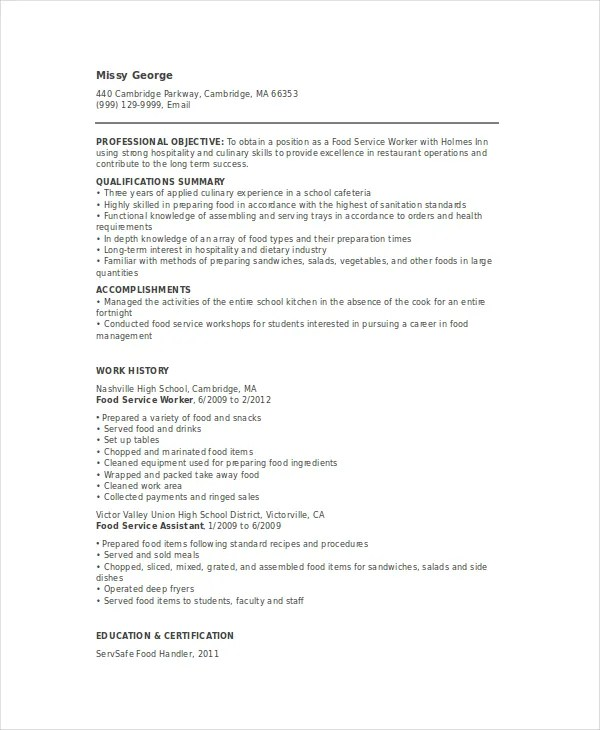 Food Service Resume Template - 6+ Free Word, PDF Documents - restaurant skills resume