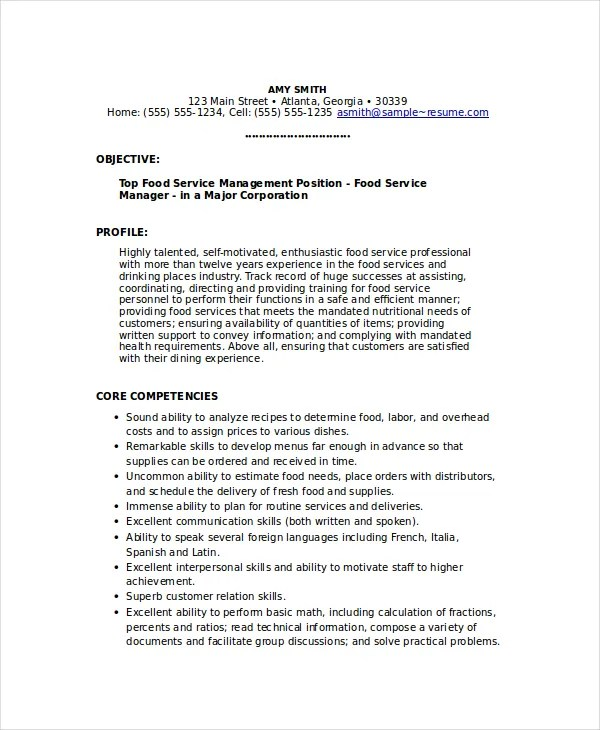6+ Food Service Resume Templates - PDF, DOC Free  Premium Templates - Food Service Resume Samples