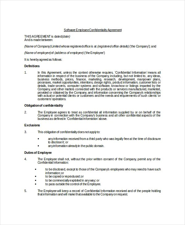 Employee Confidentiality Agreement \u2013 10+ Free Word, PDF Documents