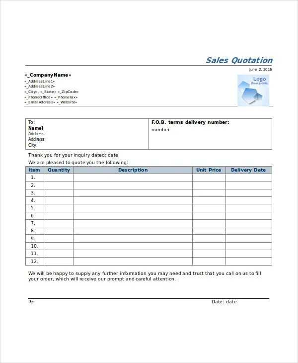 41+ Quotation Templates - PDF, DOC, Excel Free  Premium Templates - Price Quotation Format